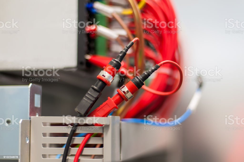 Close up electrical installations and wires on relay protection system stock photo