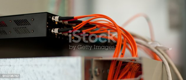istock Close up electrical installations and wires on relay protection system 910238752
