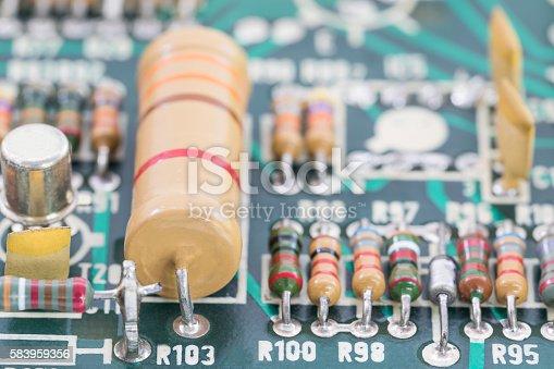 istock Close up electronic circuit board 583959356