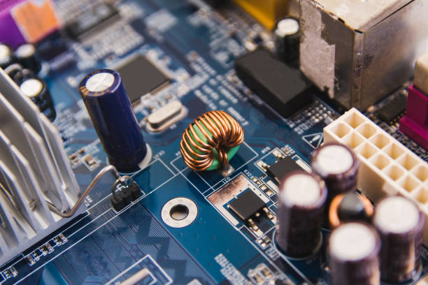 Close up electronic hardware technology on motherboard digital chip stock photo