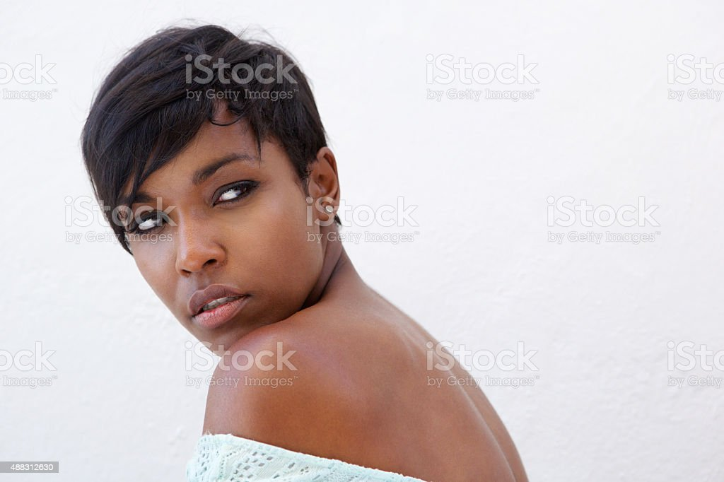 Close up elegant african american woman stock photo