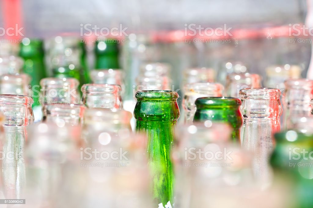 close up empty green bottle stock photo