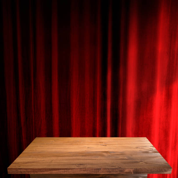 close up empty wooden table stock photo