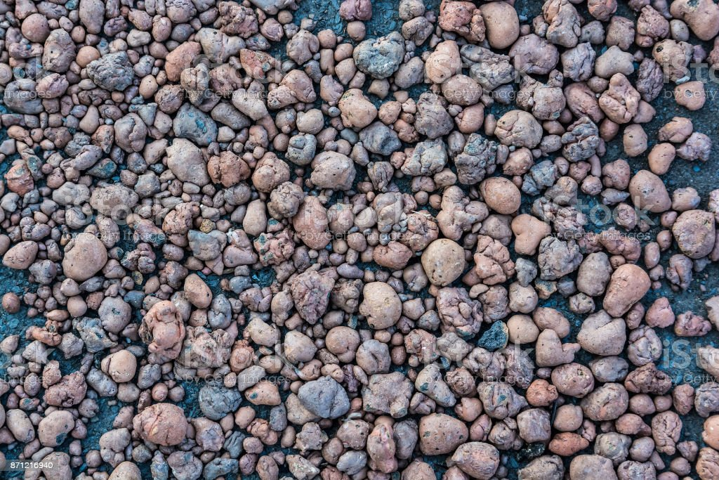 Close up expanded clay aggregate on ground stock photo