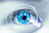 istock Close up eyes of technologies in the futuristic. 610230832