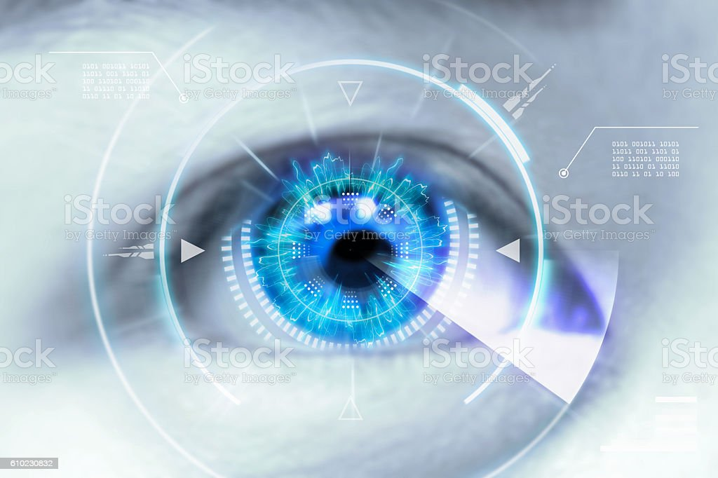 Close up eyes of technologies in the futuristic. – Foto