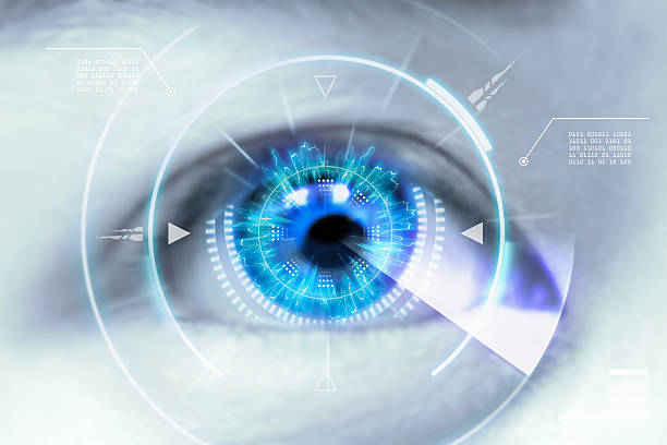 Close up eyes of technologies in the futuristic. stock photo