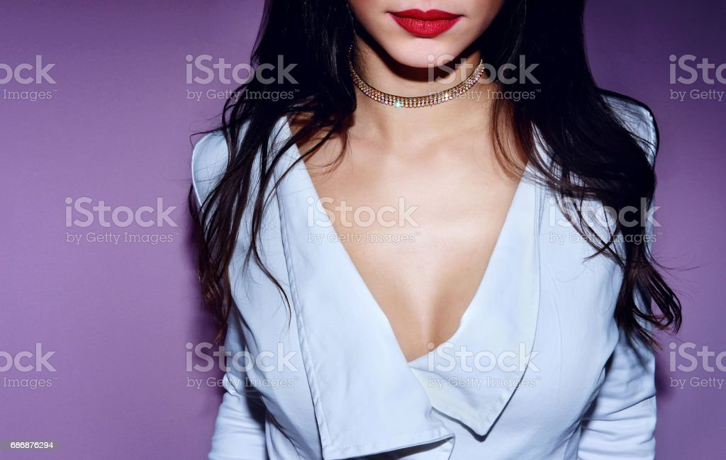Close up fashion young woman with brilliant choker her neck stock photo