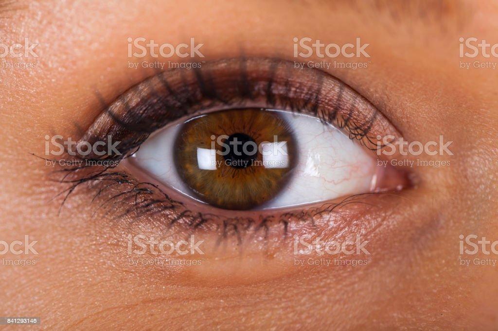 Weibliche haselnussbraunen Augen hautnah – Foto