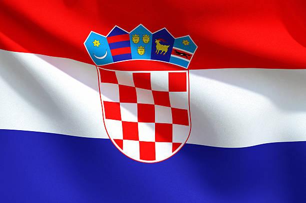 Primer plano de bandera de croacia - foto de stock