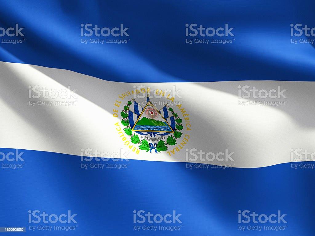 Close Up Flag - El Salvador stock photo