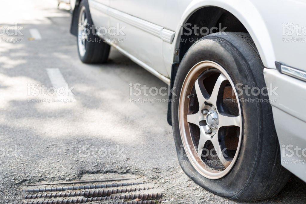 Close up Flat tire stock photo