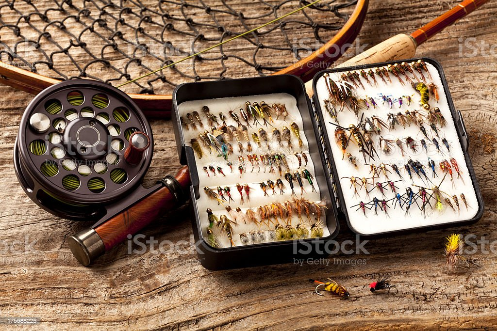 Close up - Fly-Fishing rod & collection of Flies. royalty-free stock photo