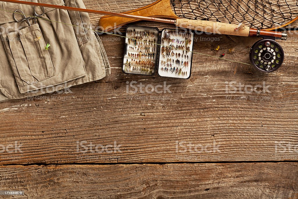 Close up, Fly-Fishing rod & collection of Flies stock photo