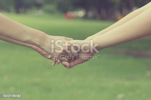 1035928092istockphoto close up focus on couple women take hands holding together for helping and cheerful concept. 1012176132