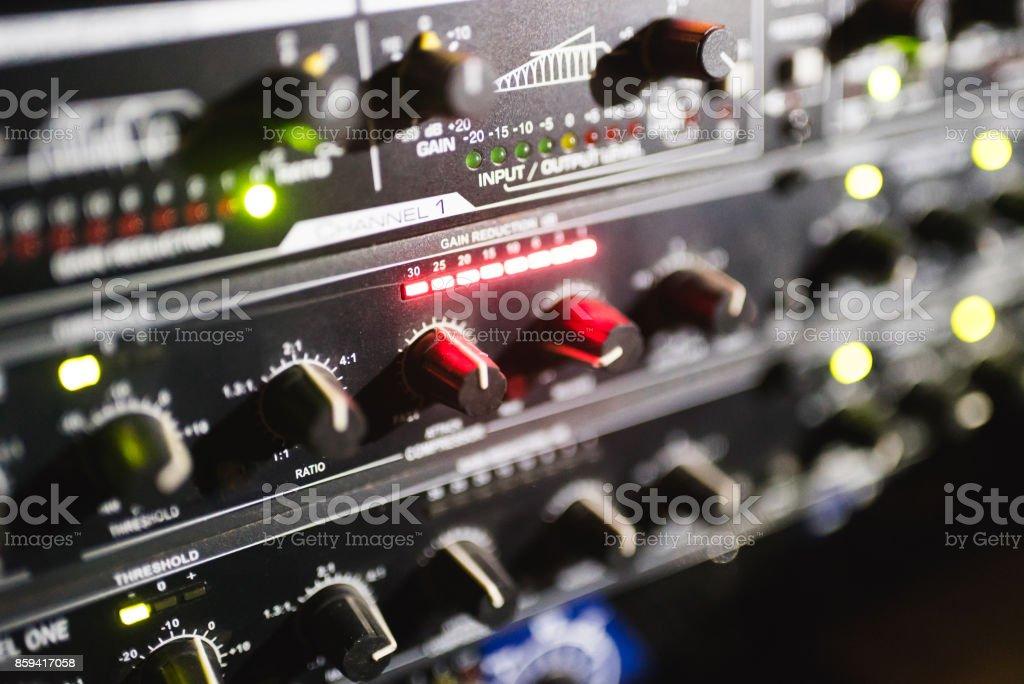 Close up footage of audio mixer. Sound control panel at concert stock photo