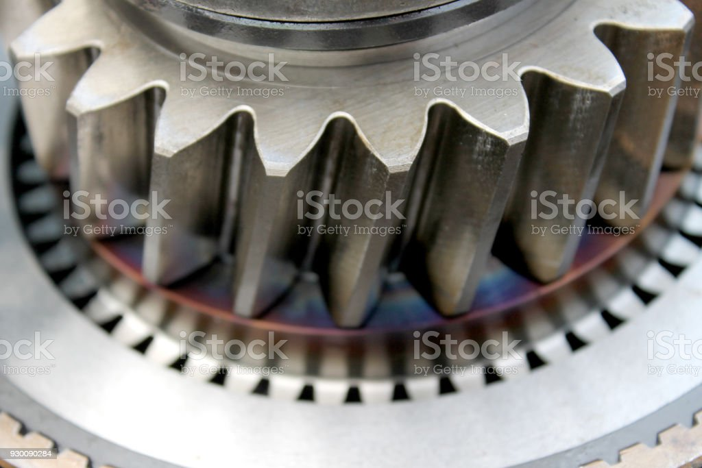 Close up for steel cog parts of engine stock photo