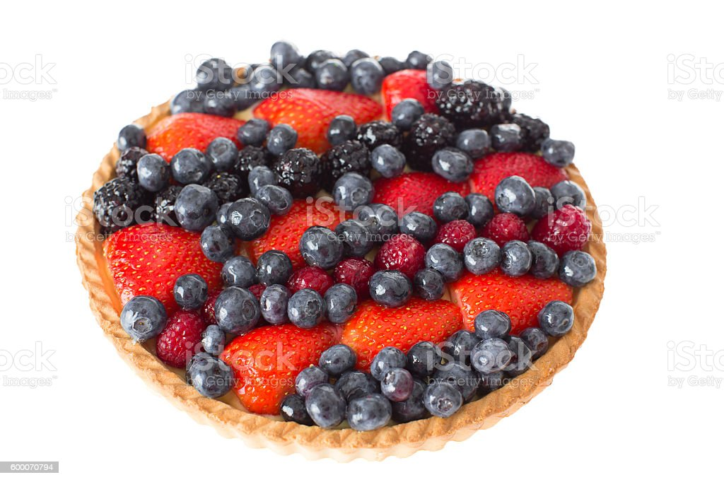 Close up Fresh Pie with Assorted Berries on Top - foto de stock