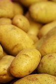 close up fresh potato in market