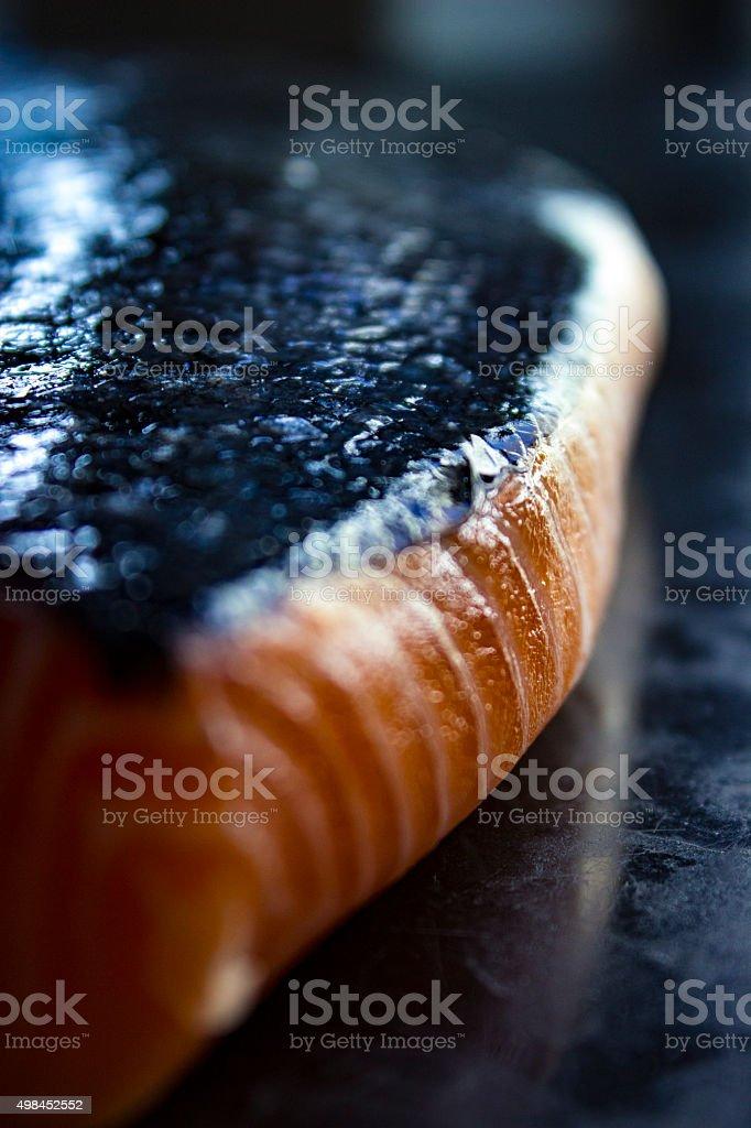 close up Fresh salmon filet stock photo