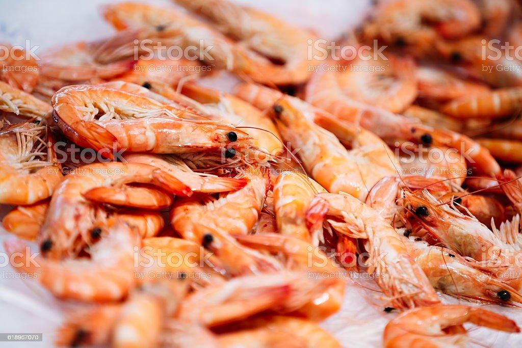 Close Up Fresh Shrimps  Display On Ice  Fishermen Market Store stock photo