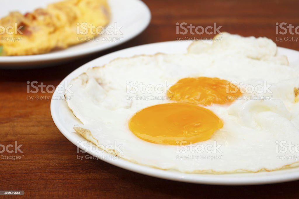 Close up Fried Eggs stock photo