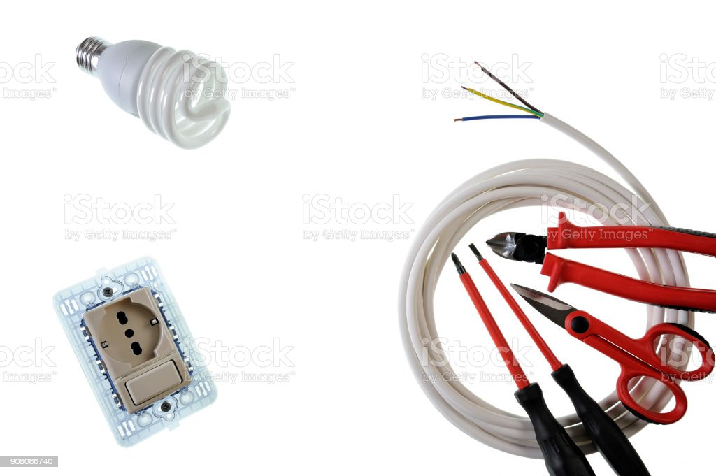 Close up from above of work tools and components for electrical installations, isolated on white background stock photo