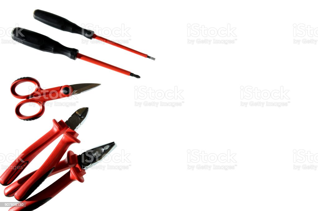 Close up from above of work tools on electrical installations, isolated on white background stock photo