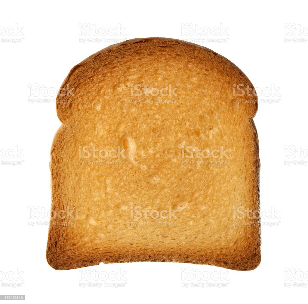 Close up from above single slice of twice-baked bread isolated stock photo