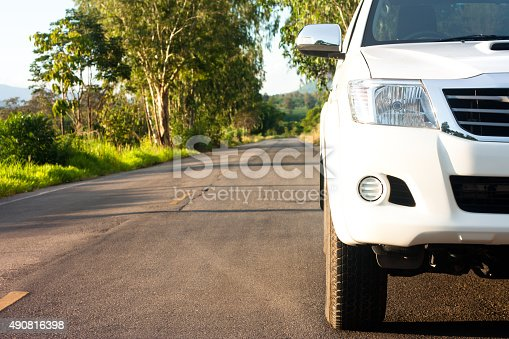 640042252 istock photo Close up front of new white car 490816398