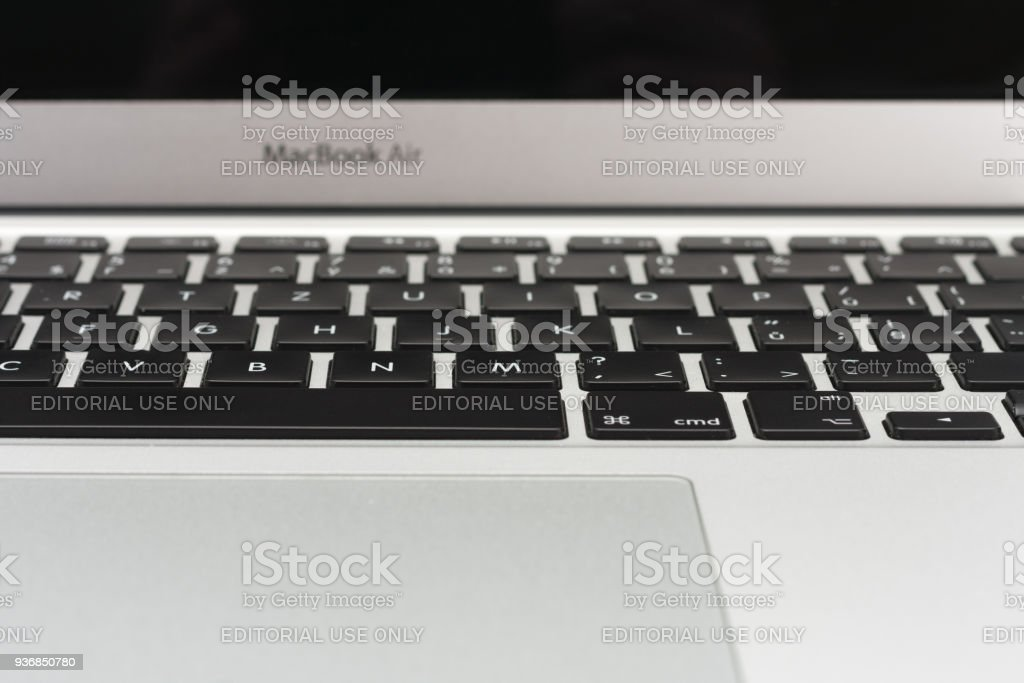 Close up, front view, keyboard on new, modern laptop. stock photo