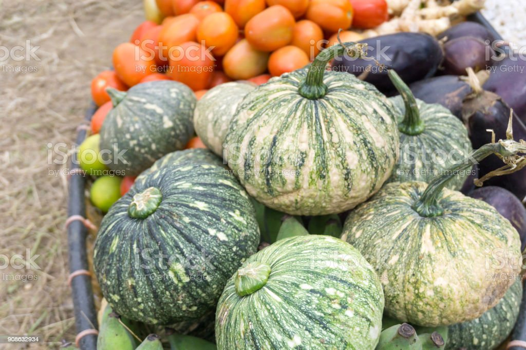 Close up fruit and vegetable on basket stock photo