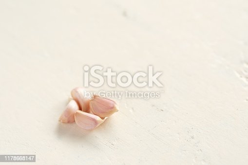 Close up garlic on white backdrop,Allium sativum is a bulbous plant