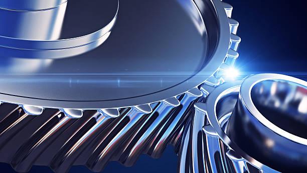 close up gears with depth of field effects - industriële apparatuur stockfoto's en -beelden