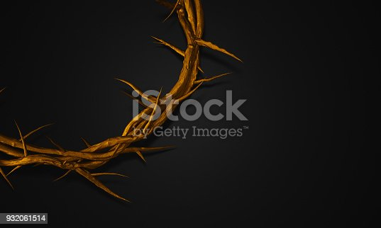 istock Close up Gold Crown of Thorns 3D Rendering Empty Space 932061514
