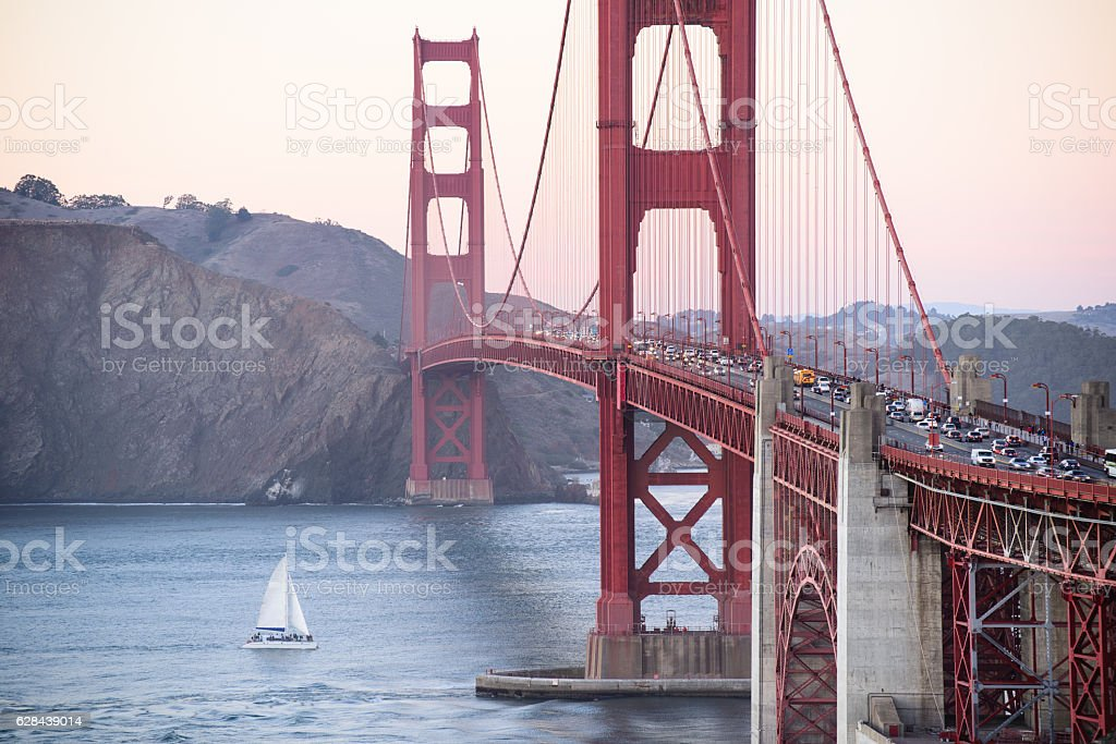 Close up golden gate bridge in san francisco stock photo