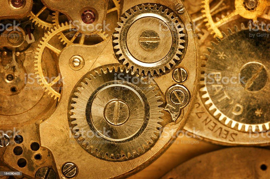 Close up golden watch machinations stock photo