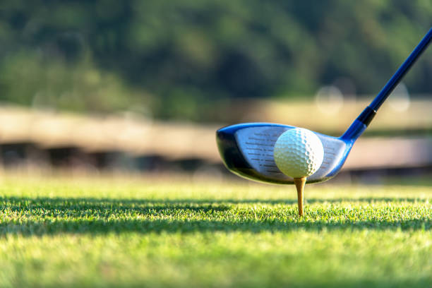 close up golf ball and driver, player doing golf swing tee off on the green sunset evening time, presumably does exercise.  healthy and lifestyle concept. - golf stock photos and pictures