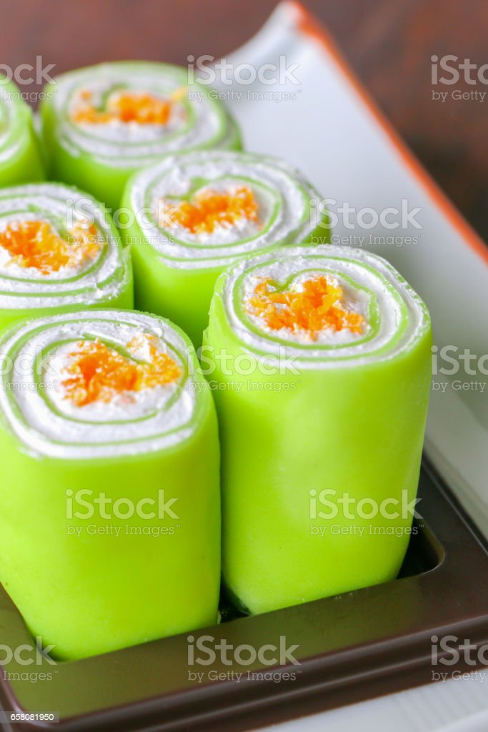 Close up green roll cake royalty-free stock photo