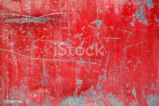 old vivid red color obsolete gate texture is peeled and full of scratches, abstract industrial background