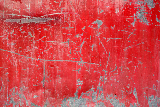 close up grunge metal plate surface of steel door old vivid red color obsolete gate texture is peeled and full of scratches, abstract industrial background rusty stock pictures, royalty-free photos & images