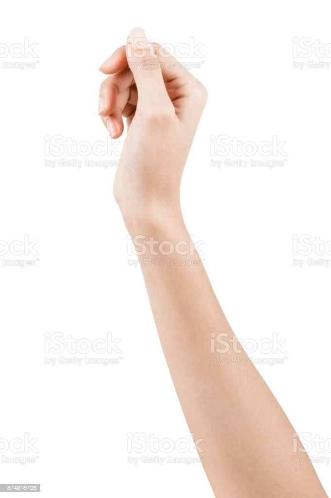 Close up Hand and arm  on white  background. stock photo