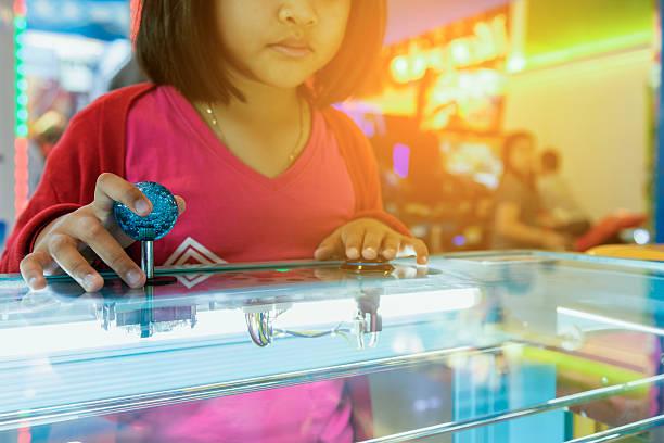 close up hand control joystick of arcade,vintage tone, - pinball spielen stock-fotos und bilder