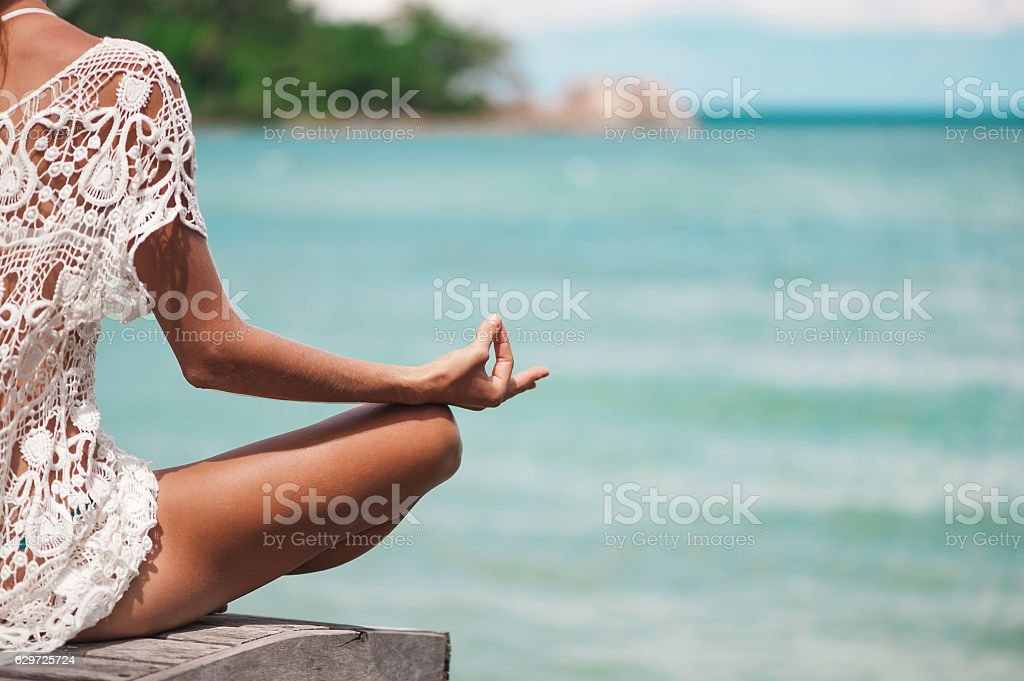 Close up Hand Gesture in Lotus Yoga Position. stock photo