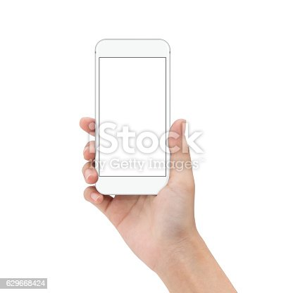 istock close up hand hold phone isolated on white 629668424
