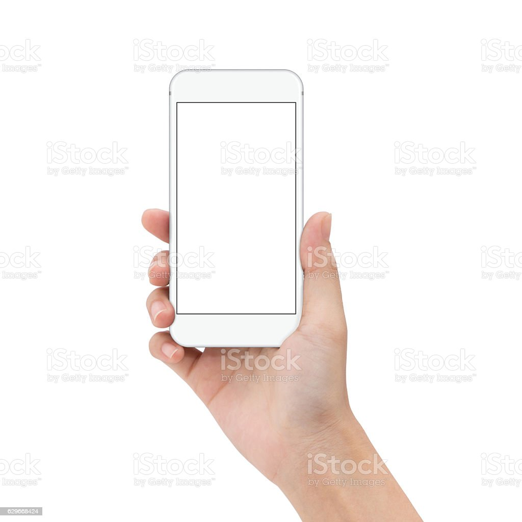 close up hand hold phone isolated on white stock photo