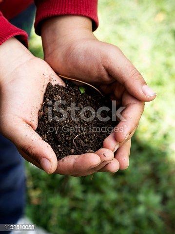 istock Close up hand holding soil peat moss,Garden Hands, 1132510058