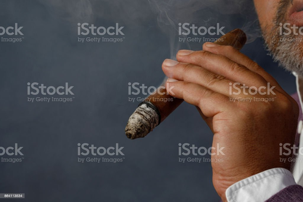 Close up hand Man holding cuban cigar  Smoking royalty-free stock photo