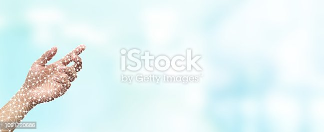 close up hand of artificial intelligence (ai) gesture reach on blue color background for globalization futuristic technology innovation concept