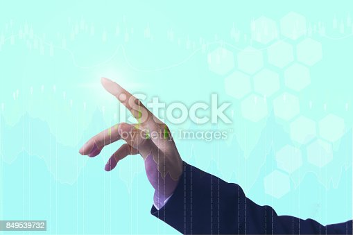 istock Close up hand people with financial symbols coming, Investment concept 849539732